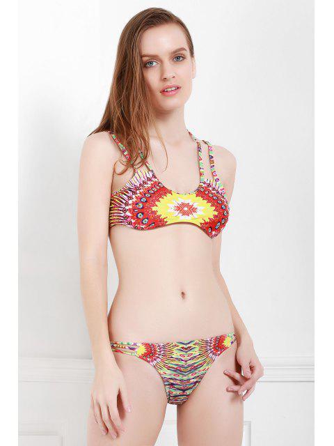 chic Spaghetti Strap Color Block Print Bikini Set - COLORMIX L Mobile