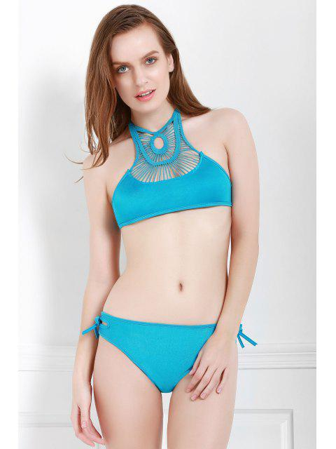 lady Hollow Out Halter Bikini Set - BLUE S Mobile