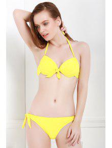 Color Sólido Con Cordones Halter Bikini Set - Amarillo L