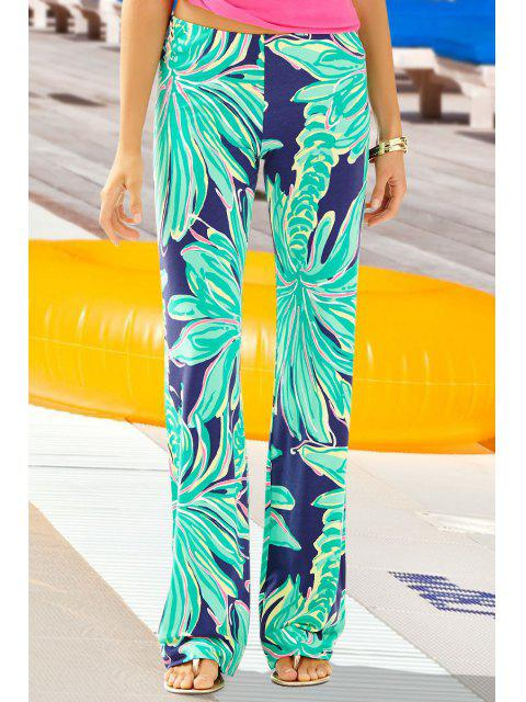 affordable Coconut Tree Print Exumas Pants - NEON GREEN L Mobile