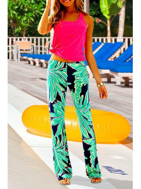 affordable Coconut Tree Print Exumas Pants - NEON GREEN L Mobile