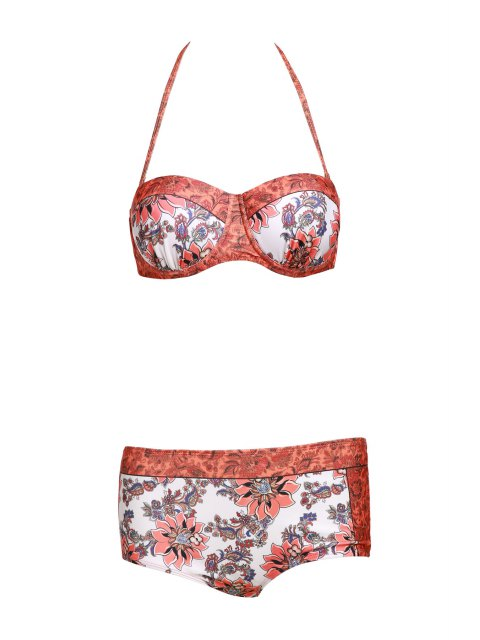 outfits Floral Print Halter Padded Swimsuit - ORANGE L Mobile