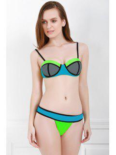 Spaghetti Strap Color Block Bikini Set - Gray L
