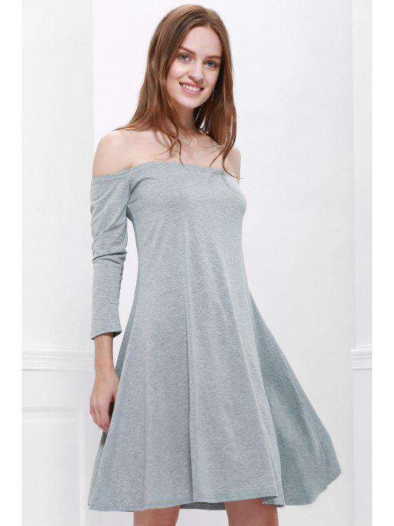 outfits Gray Slash Neck Long Sleeve Dress - GRAY S