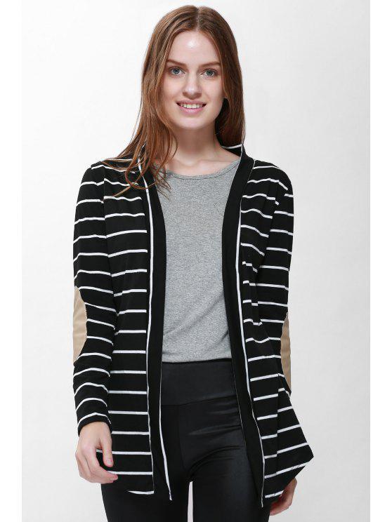 women's Stripes Long Sleeve Cardigan - BLACK S