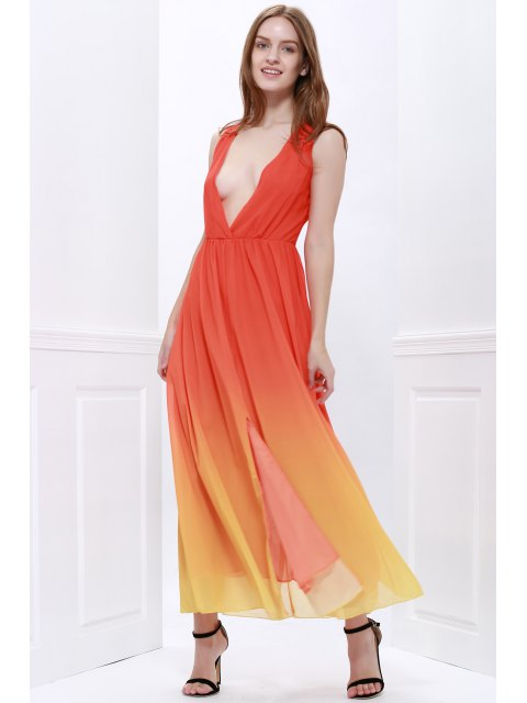 chic Plunging Neck Ombre Chiffon Dress - JACINTH M Mobile