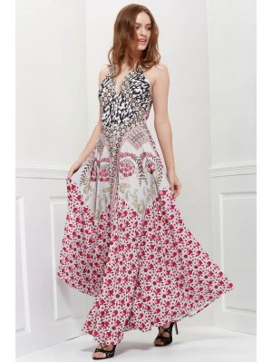 Deep V Neck Bandana Print Prom Dress