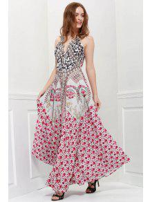 فستان نسائي ملائم وتوهج طباعة الازهار المصغرة بلا أكمام غارق الرقبة - أحمر M