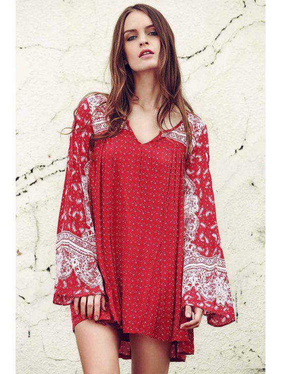 Ethnic Print V Neck Long Sleeve Dress - Rojo XS