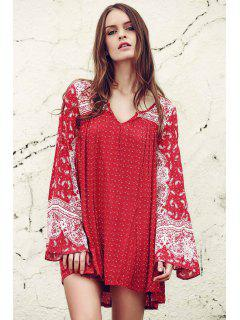 Ethnic Print V Neck Long Sleeve Dress - Red Xs