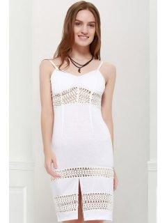 Sexy Spaghetti Strap Hollow Out Slit Dress For Women - White M
