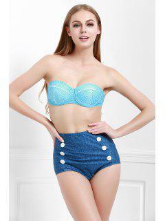 Lunares De Talle Alto Bikini Set - Azul Xl