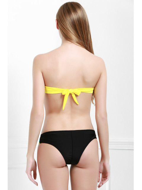 shops Color Spliced Strapless Bikini Set - BLUE S Mobile