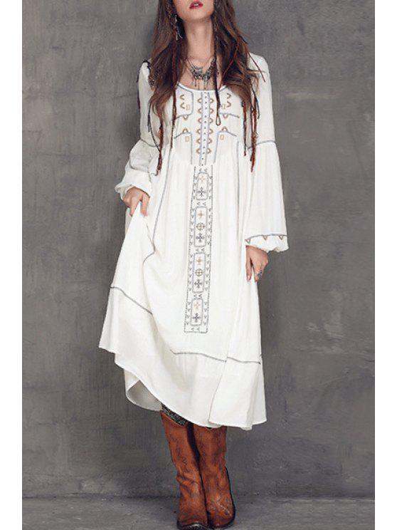 Con cuello redondo Vestido a media pierna bordado - Blanco M