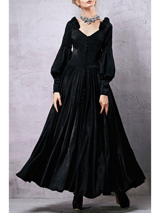 online Lantern Sleeve Fit and Flare Black Dress - BLACK L