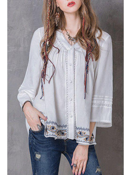 shops Pleated Embroidered White Top - WHITE M