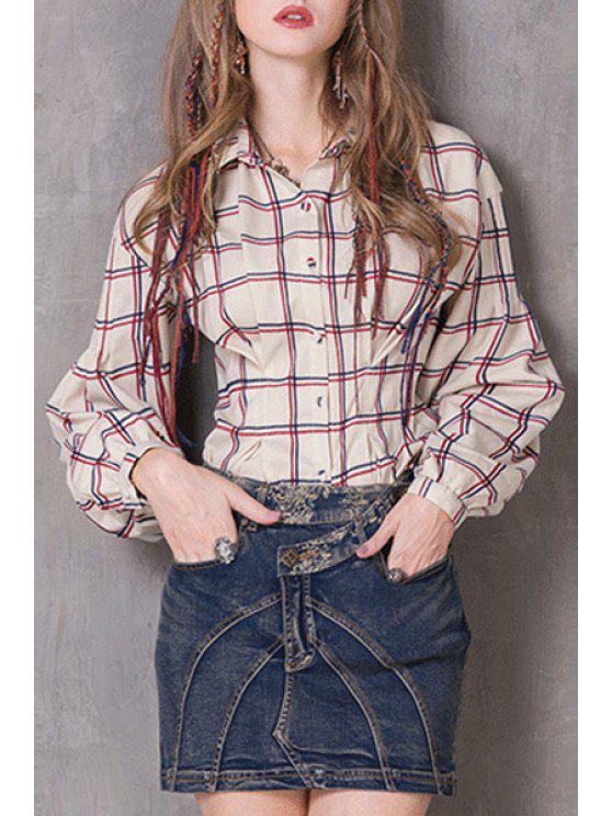 Camisa plisada manga de la tela escocesa - Blancuzco M