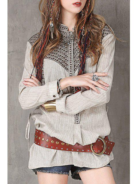 chic Stand Neck Embroidered Loose Fit Shirt - LIGHT GRAY L Mobile