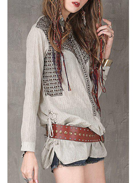 fashion Stand Neck Embroidered Loose Fit Shirt - LIGHT GRAY M Mobile
