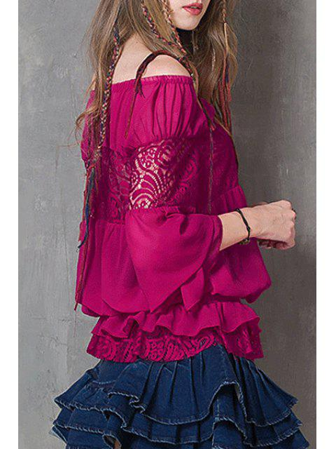 trendy Off-The-Shoulder Frilled Chiffon Blouse - PURPLISH RED ONE SIZE(FIT SIZE XS TO M) Mobile