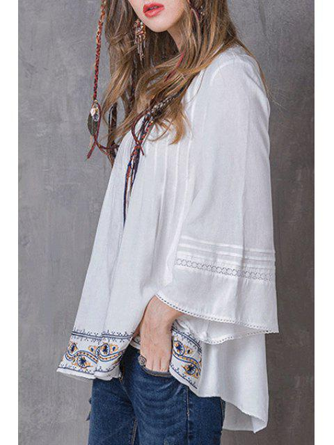 shops Pleated Embroidered White Top - WHITE M Mobile