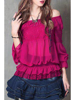 Off-The-Shoulder Frilled Chiffon Blouse - Purplish Red