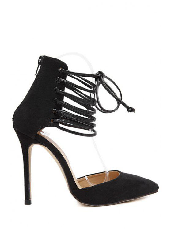 lady Suede Cut Out Lace-Up Pumps - BLACK 40