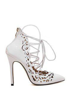 Cross-Strap Openwork Pointed Toe Pumps - White 39