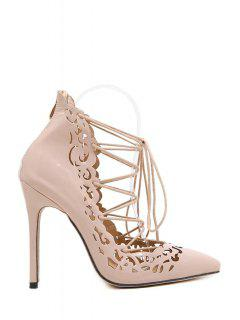 Cross-Strap Openwork Pointed Toe Pumps - Nude 39