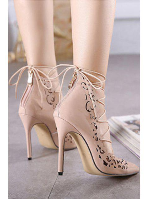trendy Cross-Strap Openwork Pointed Toe Pumps - NUDE 38 Mobile