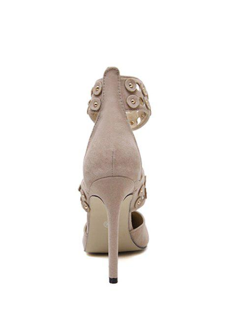 women's Buckles Hollow Out Stiletto Heel Pumps -   Mobile