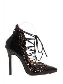 حذاء مفتوح من الأمام بكعب عالي ذو أربطة - أسود 37