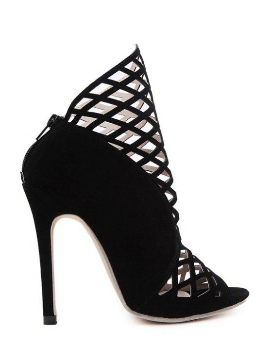 outfits Hollow Out Peep Toe Black Ankle Boots - BLACK 40