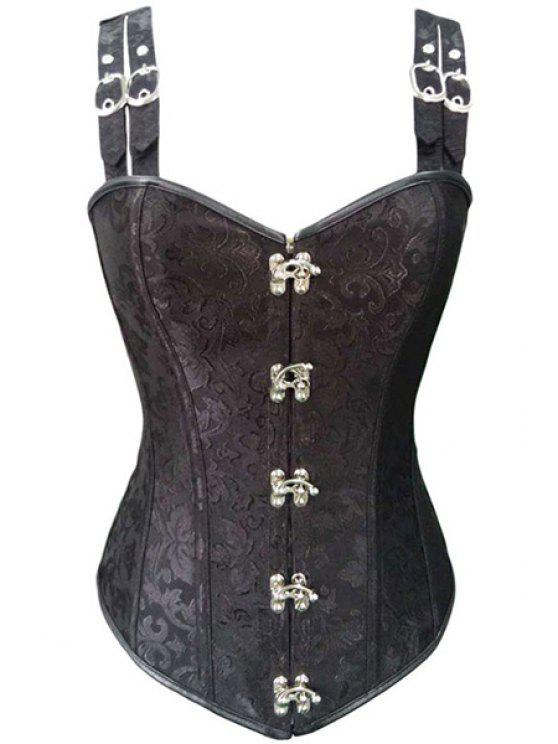 Stahl ohne Knochen Schnalle Design-Korsett - Schwarz M
