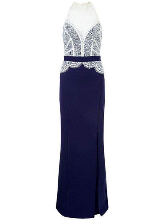 hot Lace Combined High Slit Prom Dress - BLUE AND WHITE L