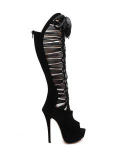 Hollow Out Peep Toe High Heel Boots - Black 37