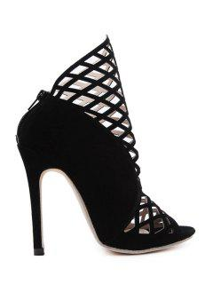 Hollow Out Peep Toe Black Ankle Boots - Black 40