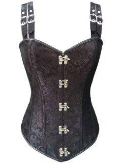 Steel Boned Buckle Design Corset - Black M