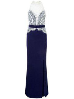 Lace Combined High Slit Prom Dress - Blue And White M