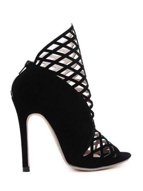 outfit Hollow Out Peep Toe Black Ankle Boots - BLACK 37 Mobile