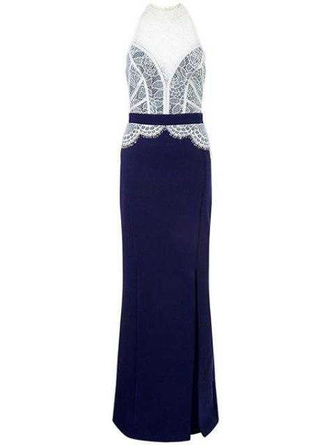 hot Lace Combined High Slit Prom Dress - BLUE AND WHITE L Mobile