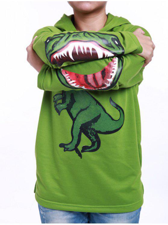 المألوف طويلة الأكمام الديناصور طباعة هوديي لصبي - أخضر 130