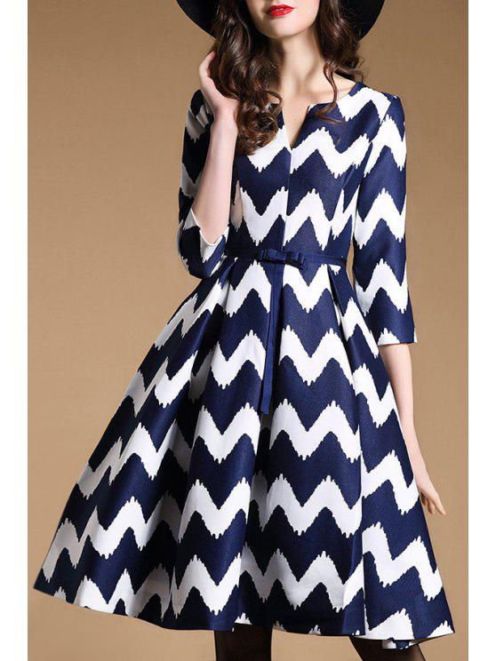 womens 3/4 Sleeve Wavy Stripe Swing Dress - BLUE AND WHITE M
