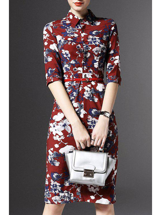 Demi Floral manches Imprimer Robe - Rouge S