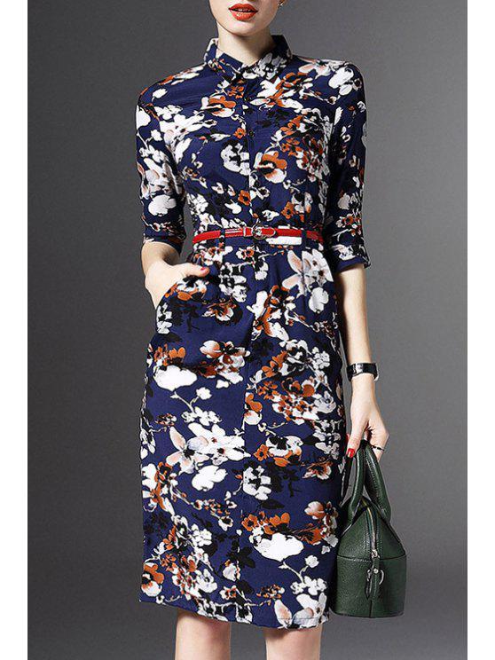 Demi Floral manches Imprimer Robe - Bleu M