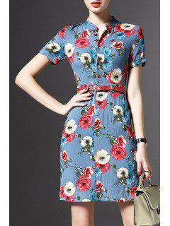 Stand Neck Floral Print Linen Dress - Blue Xl