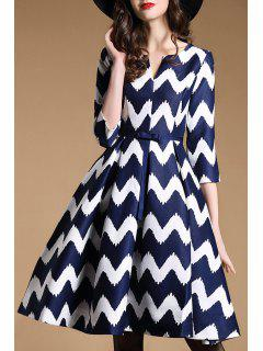 3/4 Sleeve Wavy Stripe Swing Dress - Blue And White 2xl