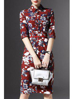 Half Sleeve Floral Print Sheath Dress - Red M