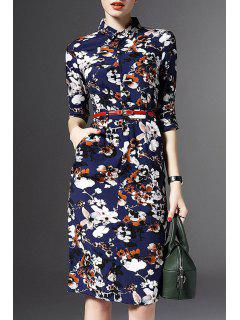 Half Sleeve Floral Print Sheath Dress - Blue M