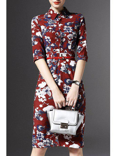Demi Floral manches Imprimer Robe - Rouge S Mobile